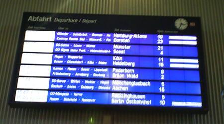 Die DB-Tafel im Hauptbahnhof Dortmund