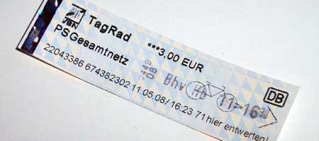Bahnticket von Bremerhaven nach Bremen fürs Rad